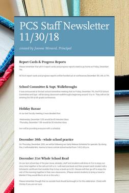 PCS Staff Newsletter 11/30/18