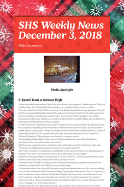 SHS Weekly News December 3, 2018