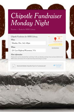Chipotle Fundraiser Monday Night