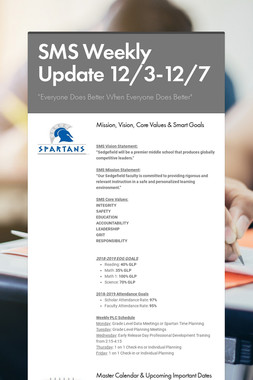 SMS Weekly Update 12/3-12/7