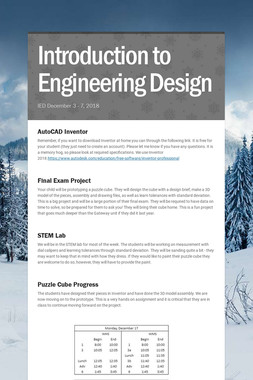 Introduction to Engineering Design