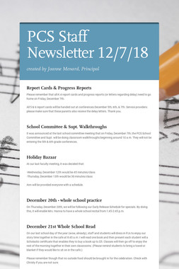PCS Staff Newsletter 12/7/18