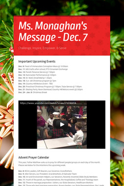 Ms. Monaghan's Message - Dec. 7