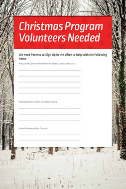Christmas Program Volunteers Needed