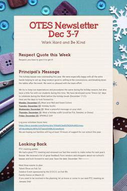 OTES Newsletter Dec 3-7