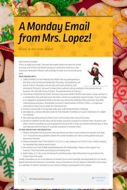 A Monday Email from Mrs. Lopez!