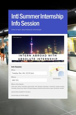 Intl Summer Internship Info Session