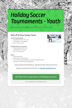 Holiday Soccer Tournaments - Youth