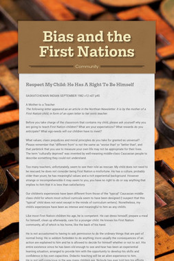 Bias and the First Nations