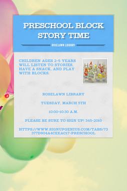 Preschool Block Story Time