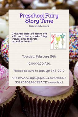 Preschool Fairy Story Time