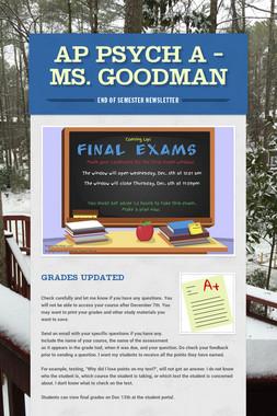 AP Psych A - Ms. Goodman