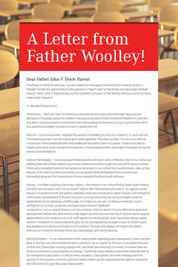 A Letter from Father Woolley!