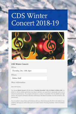 CDS Winter Concert 2018-19