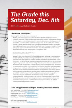 The Grade this Saturday, Dec. 8th