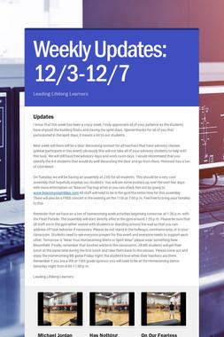 Weekly Updates: 12/3-12/7