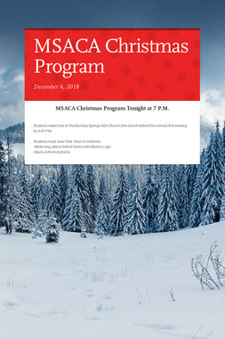 MSACA Christmas Program