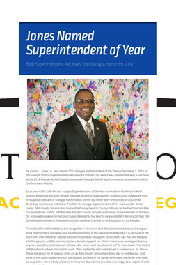 Jones Named Superintendent of Year