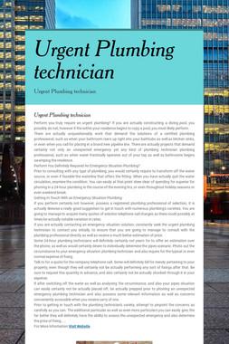 Urgent Plumbing technician