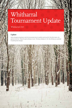 Whitharral Tournament Update