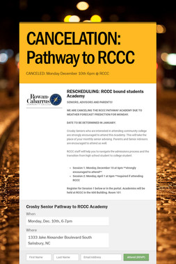 CANCELATION: Pathway to RCCC