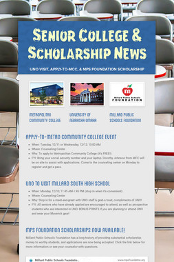 Senior College & Scholarship News