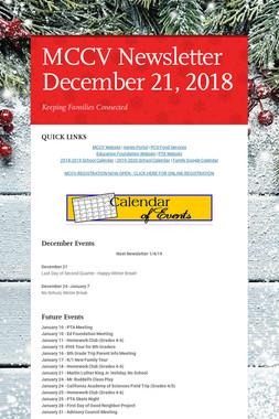 MCCV Newsletter December 21, 2018