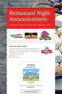 Restaurant Night Announcement
