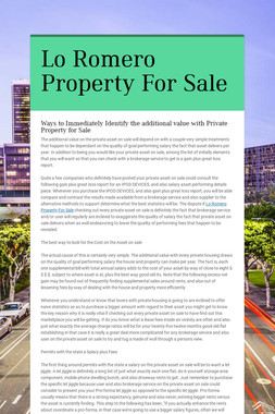 Lo Romero Property For Sale