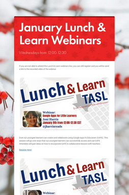 January Lunch & Learn Webinars