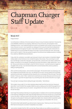 Chapman Charger Staff Update