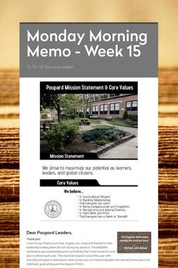 Monday Morning Memo - Week 15
