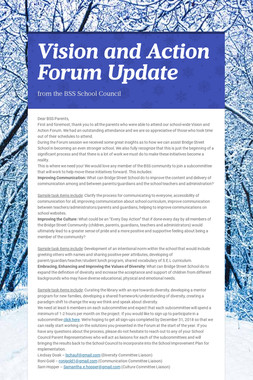 Vision and Action Forum Update
