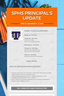 SPHS Principal's Update