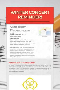 Winter Concert Reminder!