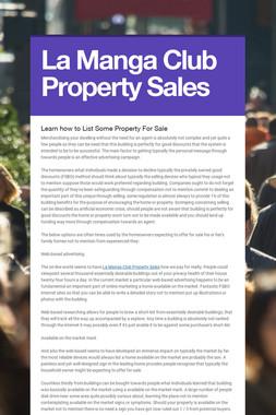 La Manga Club Property Sales