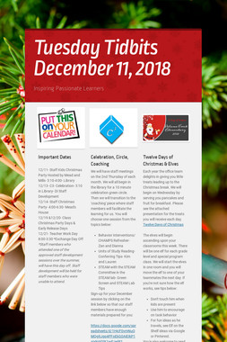 Tuesday Tidbits December 11,  2018