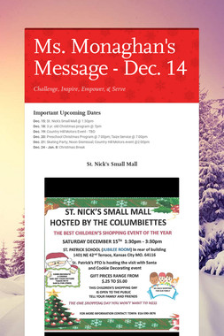 Ms. Monaghan's Message - Dec. 14