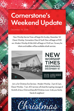 Cornerstone's Weekend Update