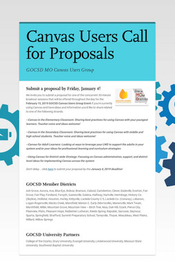 Canvas Users Call for Proposals