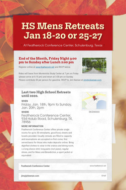 HS Mens Retreats Jan 18-20 or 25-27