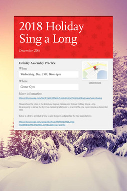 2018 Holiday Sing a Long