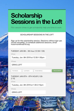 Scholarship Sessions in the Loft