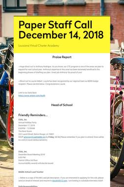 Paper Staff Call December 14, 2018