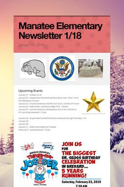 Manatee Elementary Newsletter  1/18