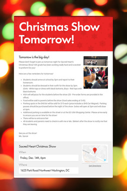 Christmas Show Tomorrow!
