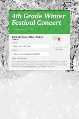 4th Grade Winter Festival Concert