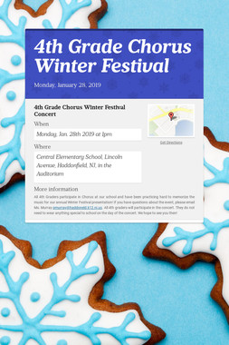 4th Grade Chorus Winter Festival
