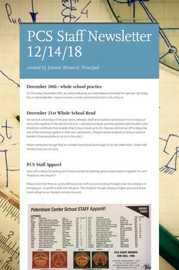 PCS Staff Newsletter 12/14/18