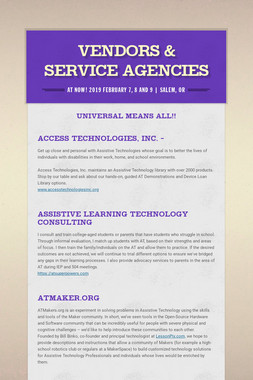 Vendors & Service Agencies